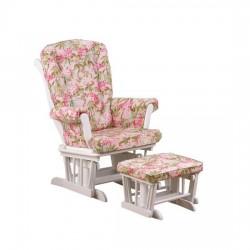 Tea Party Glider Floral W/ Ottoman